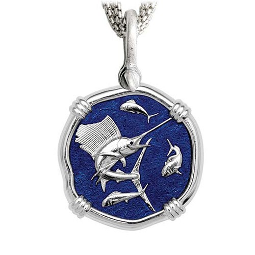 Sailfish on Five Strand Necklace Gulf Stream Blue Enamel Bright Finish 35mm Sterling Silver
