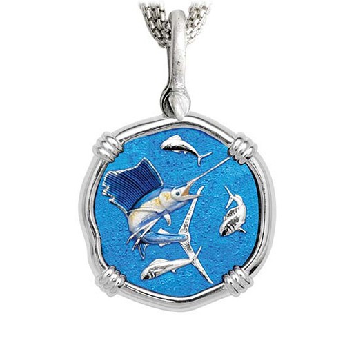 Sailfish on Five Strand Necklace Full Color Enamel Bright Finish 35mm Sterling Silver