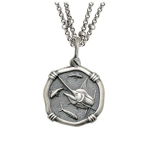 Guy Harvey Medium size Sterling Silver Marlin Necklace with Sterling Silver Double Strand Chain