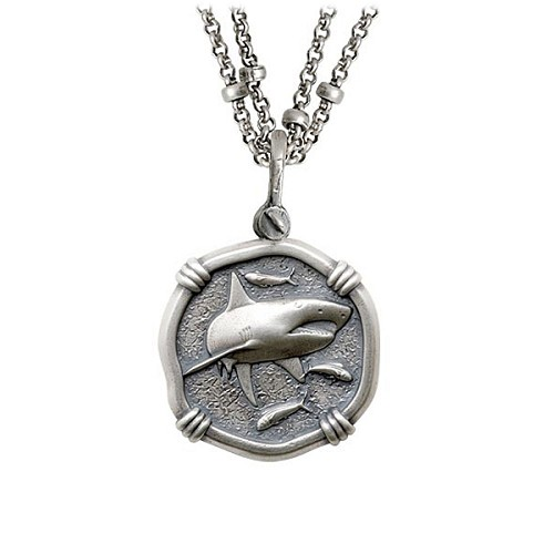 Guy Harvey Shark on Double Stranded Necklace Relic Finish 25mm Sterling Silver