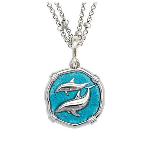 Guy Harvey Porpoises on Double Stranded Necklace Cayman Green Enamel 25mm Sterling Silver