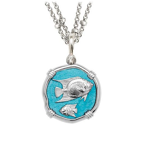 Guy Harvey Angelfish on Double Stranded Necklace Cayman Green Enamel 25mm Sterling Silver