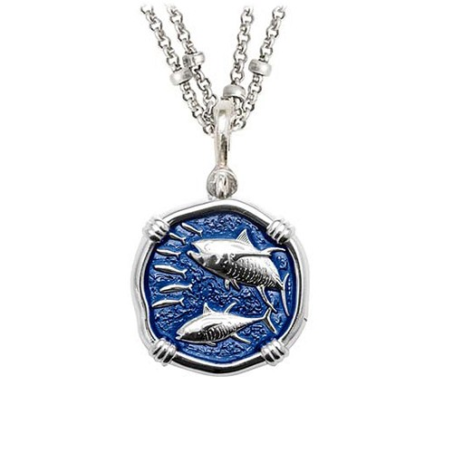 Guy Harvey Tuna on Double Stranded Necklace Gulf Stream Blue Enamel 25mm Sterling Silver