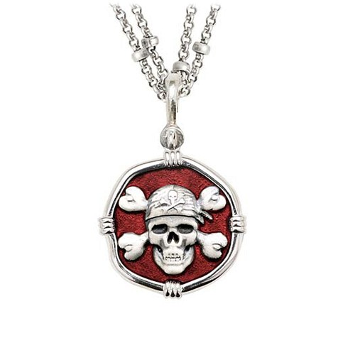 Guy Harvey Pirate on Double Stranded Necklace Red Enamel Bright Finish 25mm Sterling Silver