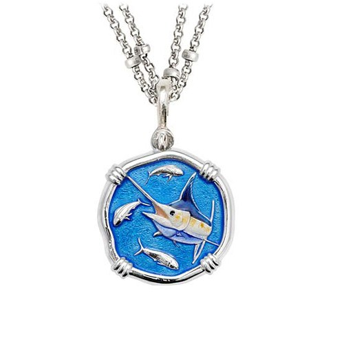 Guy Harvey Marlin on Double Stranded Necklace Full Color Enamel Bright Finish 25mm Sterling Silver