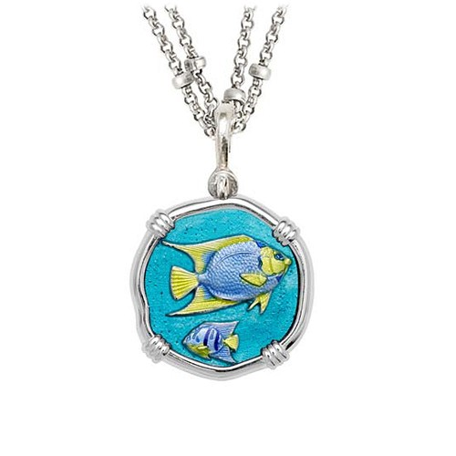 Guy Harvey Angelfish on Double Stranded Necklace Full Color Enamel 25mm Sterling Silver