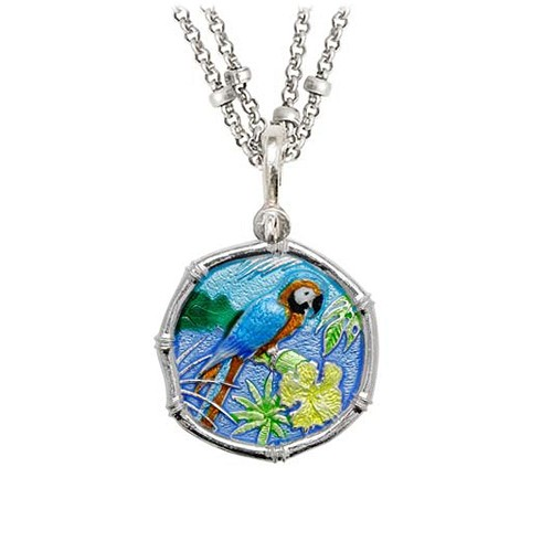 Guy Harvey Macaw on Double Stranded Necklace Full Color Enamel Bright Finish 25mm Sterling Silver