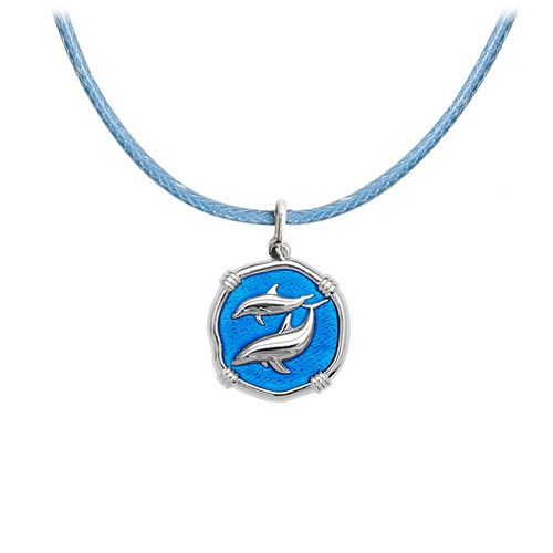 Guy Harvey Petite Caribbean Blue Enamel Sterling Silver Porpoise - Light Blue Adjustable Necklace