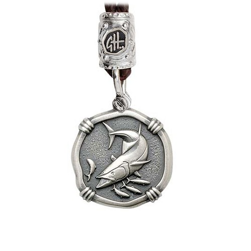Guy Harvey King Mackerel on Black Leather Bolo Necklace Relic Finish 25mm Sterling Silver