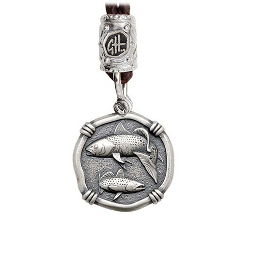 Guy Harvey Redfish & Trout on Black Leather Bolo Necklace Relic Finish 25mm Sterling Silver