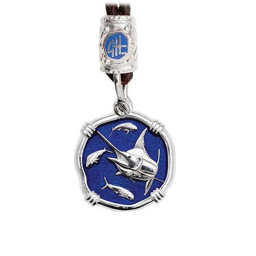 Guy Harvey Marlin on Black Leather Bolo Necklace Gulf Stream Blue Enamel 25mm Sterling Silver