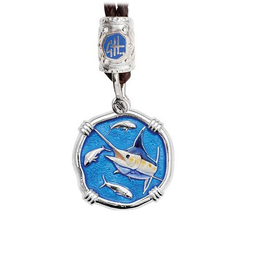 Guy Harvey Marlin on Black Leather Bolo Necklace Full Color Enamel 25mm Sterling Silver