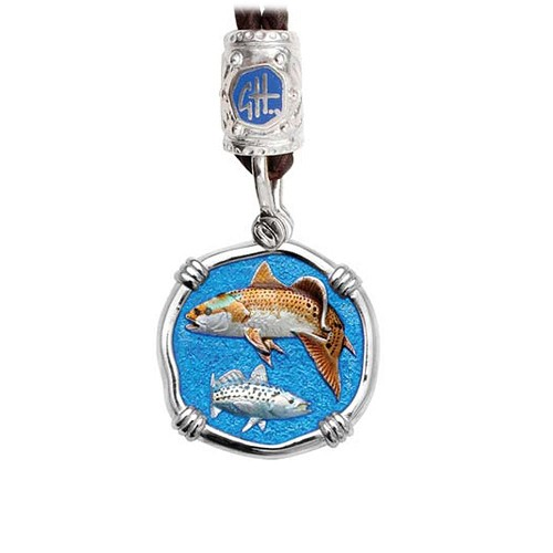 Guy Harvey Redfish & Trout on Black Leather Bolo Necklace Full Color Enamel 25mm Sterling Silver