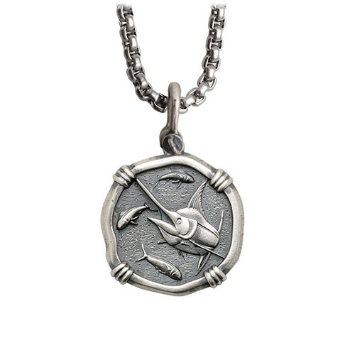 Guy Harvey Medium size Sterling Silver Marlin Necklace with Stainless Steel Box Chain
