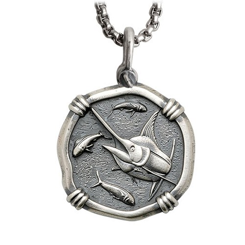 Guy Harvey Large Size Sterling Silver Marlin Necklace with Stainless Steel Box Chain