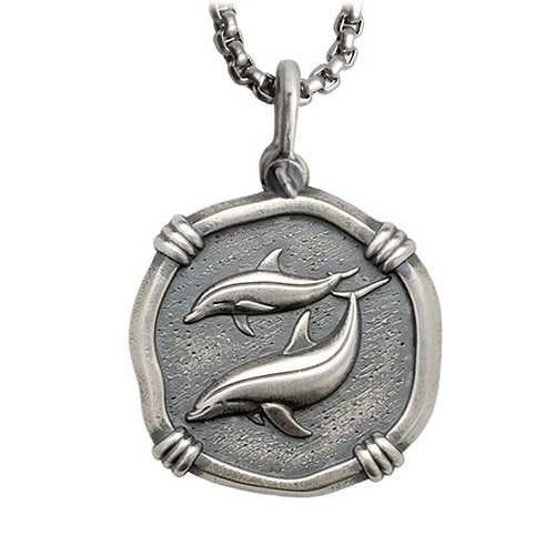 Guy Harvey Large Size Sterling Silver Porpoises Necklace with Stainless Steel Box Chain