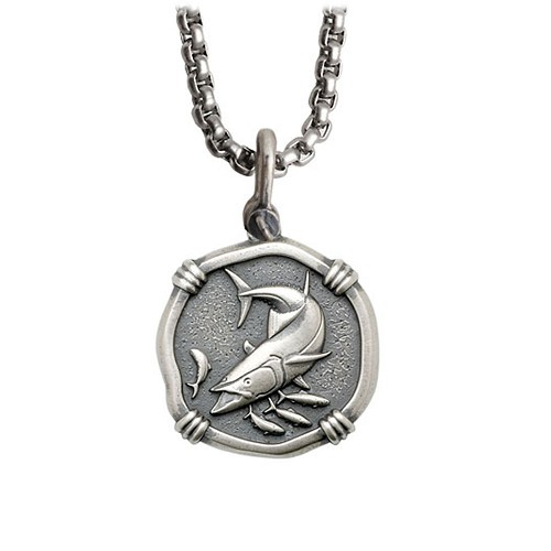 Guy Harvey Medium size Sterling Silver King Mackerel Necklace with Stainless Steel Box Chain