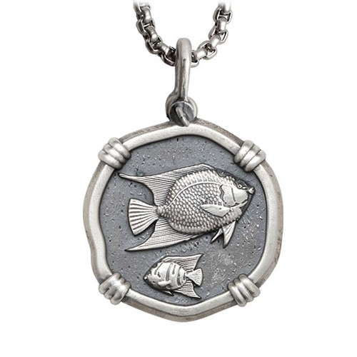 Guy Harvey Large Size Sterling Silver Angelfish Necklace with Stainless Steel Box Chain