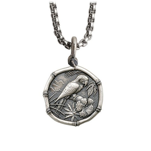 Guy Harvey Medium size Sterling Silver Macaw Necklace with Stainless Steel Box Chain