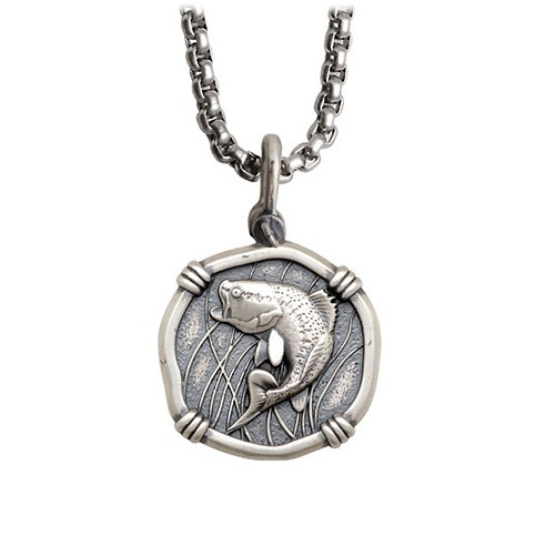 Guy Harvey Bass Medallion Crafted in Sterling Silver On a Box Style Necklace Chain