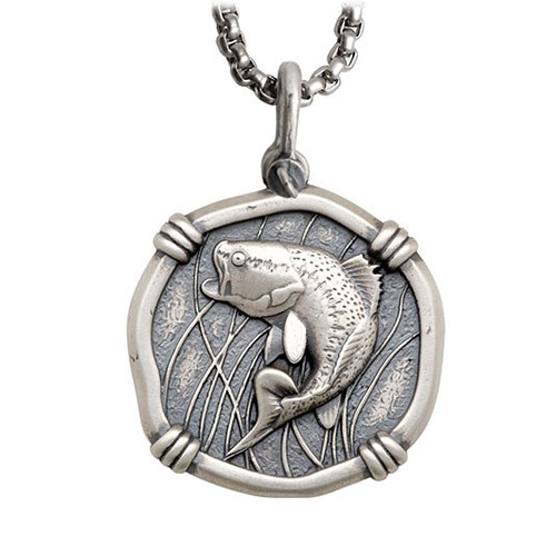Guy Harvey Large Size Sterling Silver Bass Necklace with Stainless Steel Box Chain