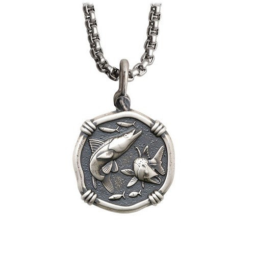 Guy Harvey Medium size Sterling Silver Snook Necklace with Stainless Steel Box Chain