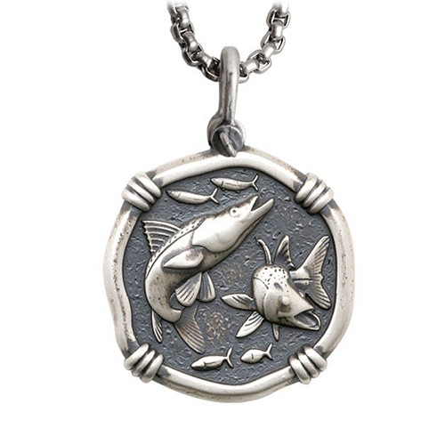 Guy Harvey Large Size Sterling Silver Snook Necklace with Stainless Steel Box Chain