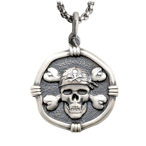 Guy Harvey Large Size Sterling Silver Pirate Necklace with Stainless Steel Box Chain