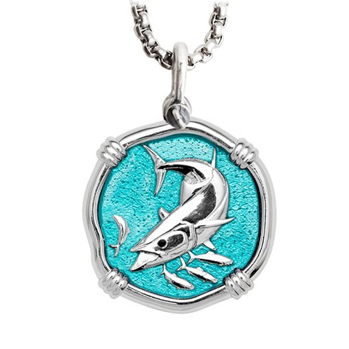 Guy Harvey Large Cayman Green Enamel Sterling Silver King Mackerel Necklace - Stainless Steel Chain