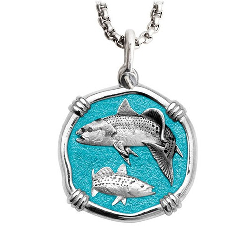 Guy Harvey Large Redfish & Trout Green Enamel Sterling Silver Necklace - Stainless Steel Chain