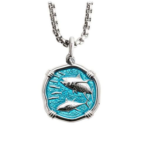Guy Harvey Medium Cayman Green enameled Sterling Silver Tuna Necklace with Stainless Steel Chain
