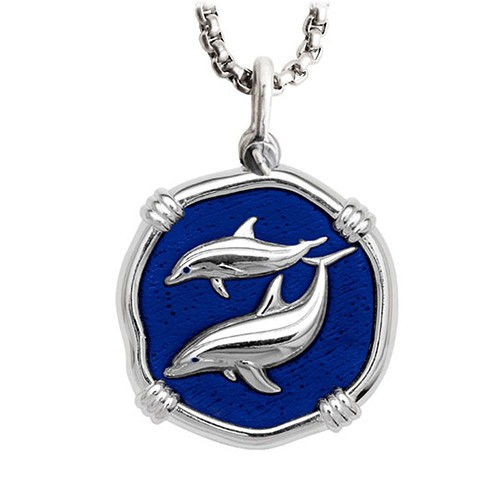 Guy Harvey Large Porpoise Gulf Stream Blue enameled Sterling Silver Necklace - Stainless Steel Chain