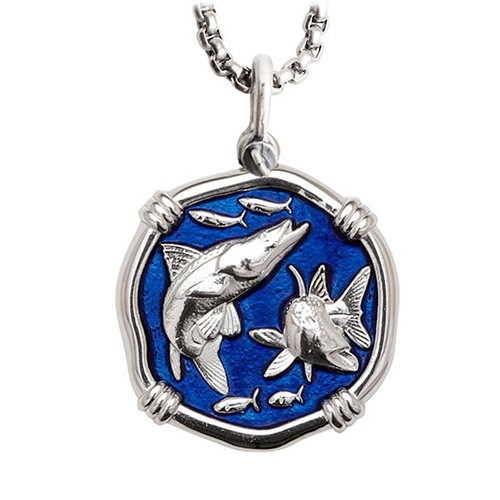 Guy Harvey Snook Large Gulf Stream Blue Enameled Sterling Silver Necklace - Stainless Steel Chain