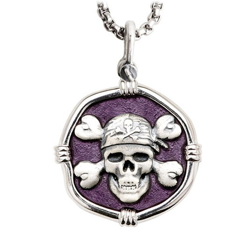 Guy Harvey Large Size Pirate Purple Enamel Sterling Silver Necklace with Stainless Steel Chain