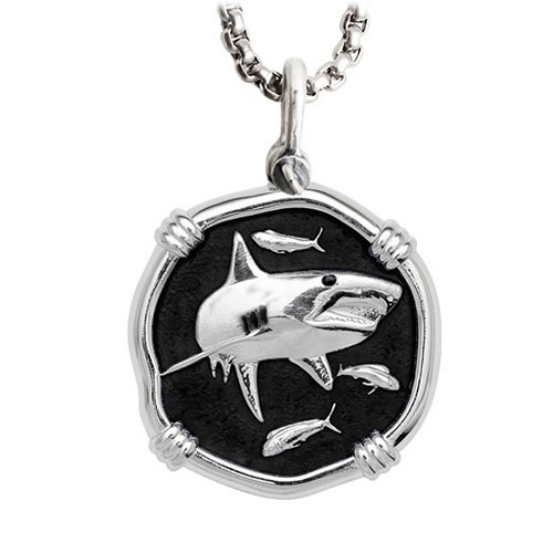 Guy Harvey Shark Large Size Black Enameled Sterling Silver Necklace with Stainless Steel Box Chain