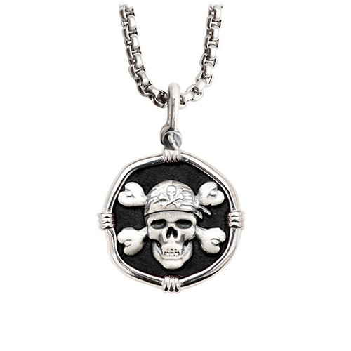 Guy Harvey Medium size Black enameled Sterling Silver Pirate Necklace with Stainless Steel Box Chain