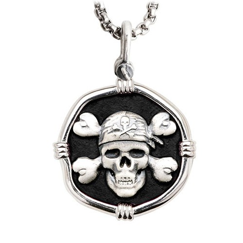 Guy Harvey Pirate Large Size Black Enameled Sterling Silver Necklace with Stainless Steel Box Chain
