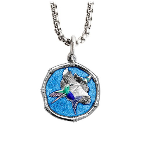 Guy Harvey Medium Blue Enamel Sterling Silver Hummingbird Necklace - Stainless Steel Chain