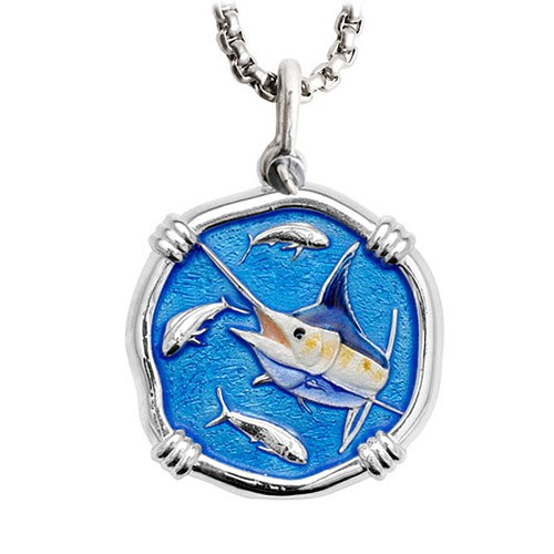 Guy Harvey Large Marlin Full Color Enameled Sterling Silver Necklace with Stainless Steel Box Chain