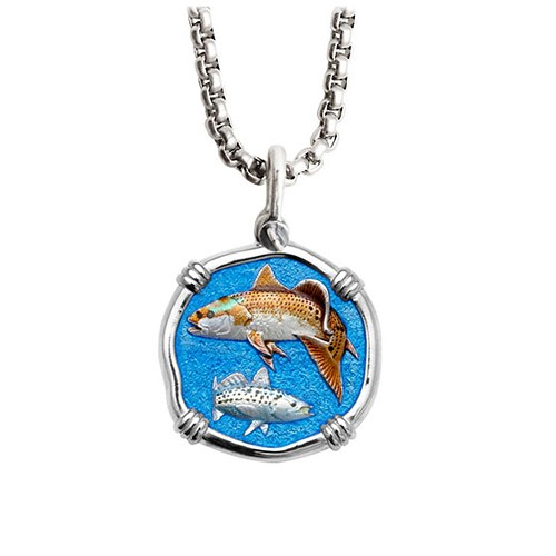 Guy Harvey Medium Full Color Enamel Sterling Silver Redfish & Trout Necklace - Stainless Steel Chain
