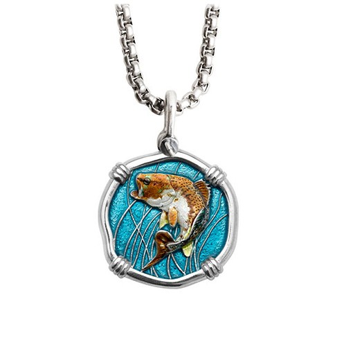Guy Harvey Medium size Full Color enamel Sterling Silver Bass Necklace with Stainless Steel Chain