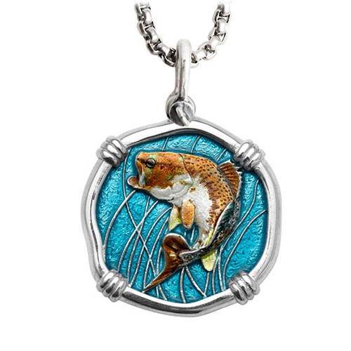 Guy Harvey Large Size Bass Full Color Enameled Sterling Silver Necklace with Stainless Steel Chain