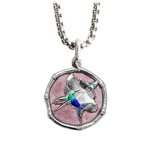 Guy Harvey Medium Pink Enamel Sterling Silver Hummingbird Necklace - Stainless Steel Chain