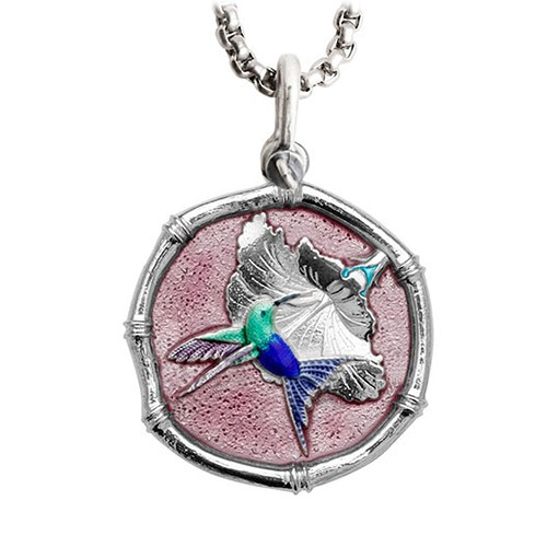 Guy Harvey Large Hummingbird Full Color Pink Enameled Sterling Silver with Stainless Steel Chain