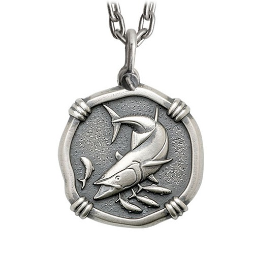 Guy Harvey Large Size Sterling Silver King Mackerel Necklace with Stainless Steel Heavy Link Chain