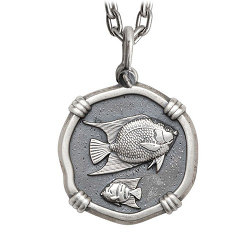 Guy Harvey Large Size Sterling Silver Angelfish Necklace with Stainless Steel Heavy Link Chain