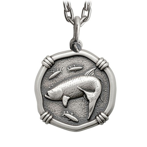 Guy Harvey Large Size Sterling Silver Tarpon Necklace with Stainless Steel Heavy Link Chain