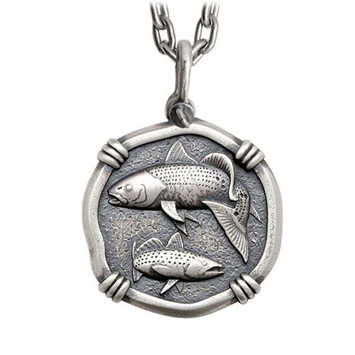 Guy Harvey Large Size Sterling Silver Redfish & Trout Necklace with Stainless Steel Heavy Link Chain