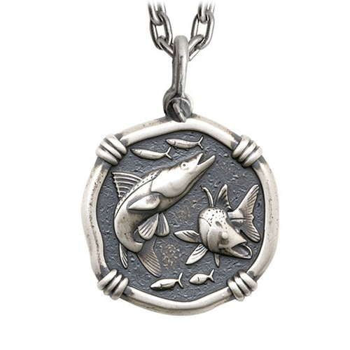 Guy Harvey Large Size Sterling Silver Snook Necklace with Stainless Steel Heavy Link Chain