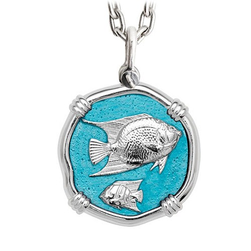 Guy Harvey Large Angelfish Cayman Green Enamel Sterling Silver Necklace with Stainless Steel Chain